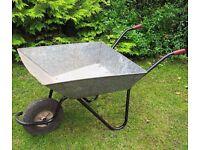 Galvanised steel wheelbarrow with painted steel handles