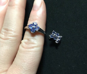 NEW TANZANITE AND DIAMOND WHITE GOLD RING AND EARRING SET