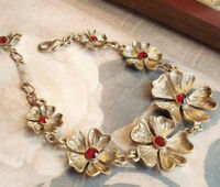 Antiqued brass Flowers red Cubic Zirconia Bracelet--NEW!!