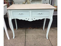 Shabby Chic Ornate French Style Dressing Table - Duck Egg Blue