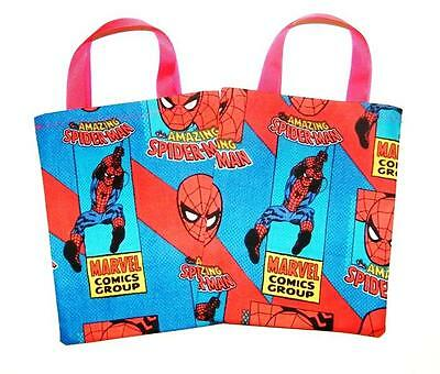 Spiderman Super hero 6 fabric Party Favor Treat bags (Spiderman Party Bags)