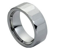 8mm. Faceted Men's or Ladies Tungsten Carbide Ring Size 8