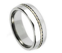 Sterling Silver Rope Chain Tungsten Carbide Men's Wedding Rings