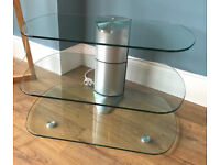 Three tier glass / silver TV stand