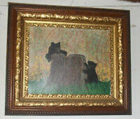 HAND-PAINTED-ACRYLIC-PAINTING-WILDLIFE< BLACK BEAR & CUBS