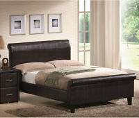 King Size Bed Leather Brown Like New