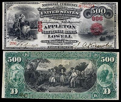 UNC U.S.1865 $500.00 NAT. BANKNOTE OF LOWEL MASS. COPY! PLEASE READ DESCRIPT