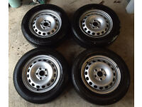 4 x steel wheels with 195/65/R14 Bridgestone B250 tyres tires good for winter replacements VW