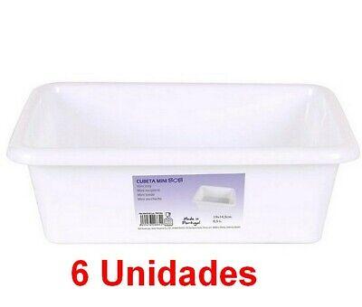 6 Unidades de Cubeta bandeja Rectangular capacidad 0,5Litros,Blanca,19 x 14,5 cm