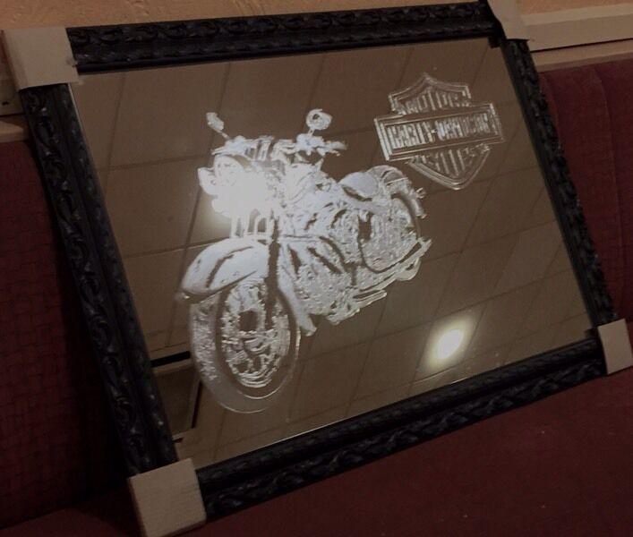 Large Framed Harley Davidson Wall Mirror