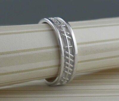 Love Forever Celtic Wedding Ring - 10K White Celtic Ogham Wedding Ring LOVE FOREVER Irish made BORU Size 8