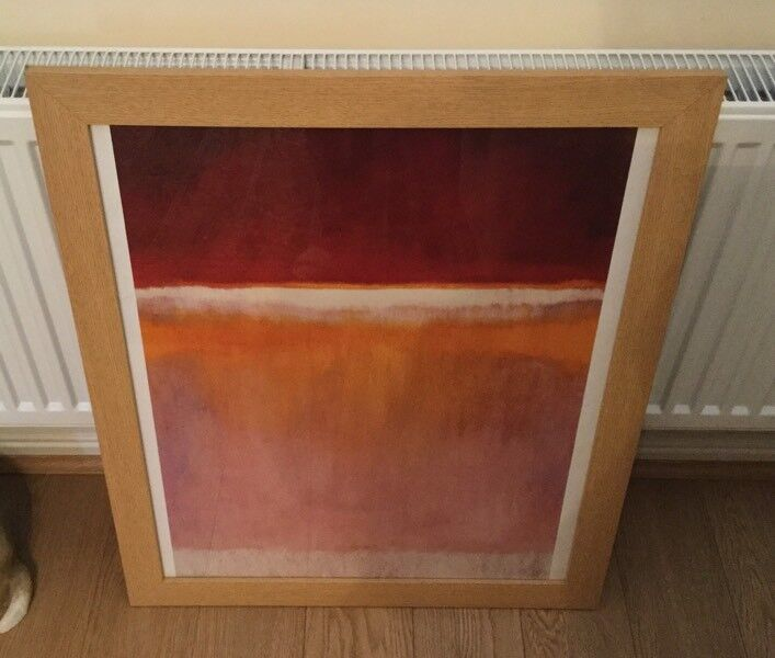 Red and Orange Abstract Framed Picture 20 x 24 Oak Frame Can be hung several ways