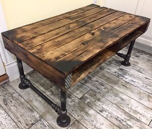 Recycled Wood Coffee Table on Industrial Iron Pipe Frame