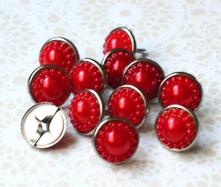 14mm VINTAGE PEARL Brads - RED Scrapbook CardMaking Craft 10pc
