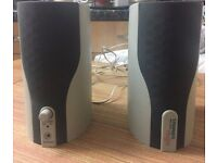 PC Multimedia Media Speakers. Includes power adapter and audio leads. (VGC)