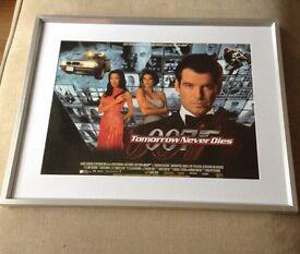 "James Bond TOMORROW NEVER DIES mini cinema quad poster 16"" X 12"" 1997 framed"