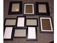 5 black photo frames