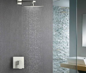 """New 16"""" Big Rainfall Shower Faucet Wall Mounted Nickel Brushed"""