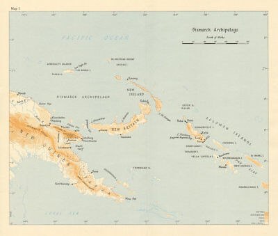 Bismarck Archipelago New Guinea New Britain 1943/4. Ports. World War 2 1961 map