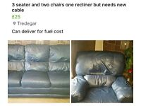 3 seater sofa & 2 chairs - one is a recliner