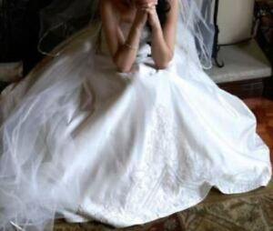 Stunning Off-White Wedding Dress + SHOES + VEIL + GLOVES + SHAWL
