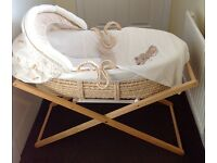 Mothercare my precious bear Moses basket and stand