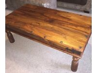 Lovely Sheesham wood jali Indian solid coffee table -excellent condition