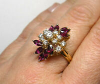 14KT GOLD DIAMOND RUBY CLUSTER STYLE RING VINTAGE COCKTAIL RING