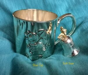 """ANTI TARNISH """"ANTIMONY"""" SILVER BABY CUP and TOOTH SAVER"""