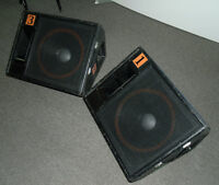 """Matched Pair of 15"""" Stage Monitors with Vol. control on Horns"""