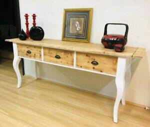 Hampton's Look Natural Timber/White Hall Table