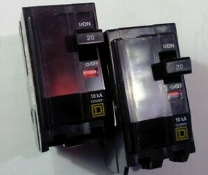 Two, Square D Circuit Breakers, 120/240V, 20A