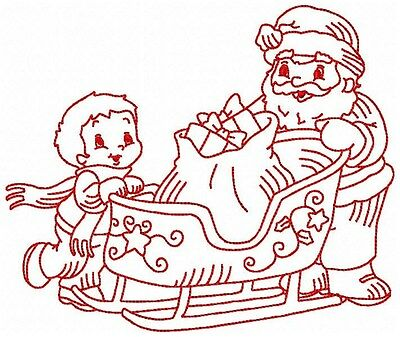 Redwork Santa Helpers 10 Machine Embroidery Designs on CD in 2 sz - 4