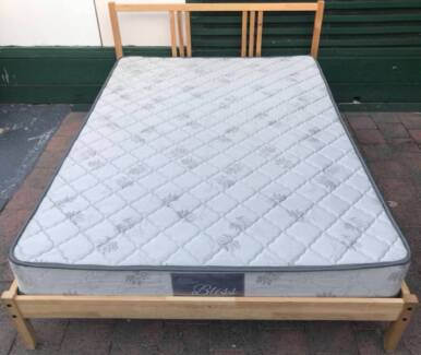 Excellent wooden double bed frame with mattress
