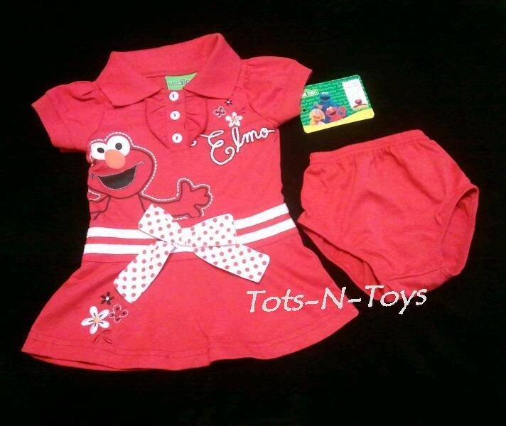NEW Sesame Street Infant Baby ELMO Dress & Bloomers Set 6 9 12 Month 2 Piece Lot