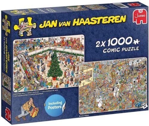 Jumbo Jan Van Haasteren 2 x 1000 Piece Jigsaw Puzzles - Holiday Shopping