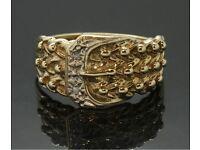 9ct yellow gold diamond buckle / keeper ring .
