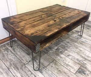 Recycled & Reclaimed Wood Coffee Table on Vintage Style Hairpins