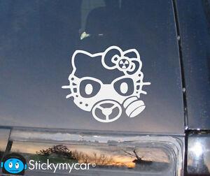 Hello-Kitty-Gas-Mask-Decal-Sticker-Revolution-AK47-gun-bad-funny-car-truck