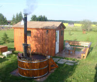 Cottage Cedar Hot Tubs with Woodstove