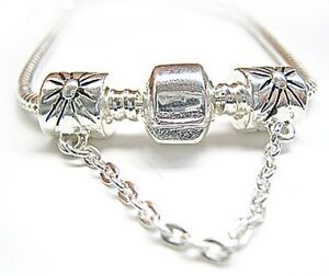925 Stamp Silver Charm Bead Safety Chain Fits Bracelet