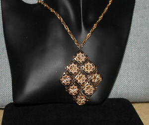 Vintage D'Orlan Gold-Tone Nine square design Necklace