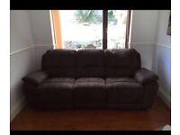 3 seater Brown fake suede reclining sofa