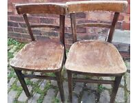 Pair of antique plywood chairs for sale ideal for upcycling or restoration