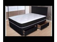 """4 ft or 4ft6"""" black divan bed mattress with 4 drws and h/board new"""