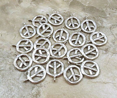 Set of 20 Pewter Peace Sign Charms - - Pewter Peace Sign Charms