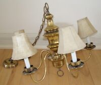 old brass chandelier with 5 new shades