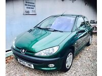 ★NEW IN★🚗★ 2003 PEUGEOT 206 LX 1.4 PETROL 3-DOOR ★ MOT MAY 2017 ★ TWO OWNERS FROM NEW ★KWIKI AUTOS★