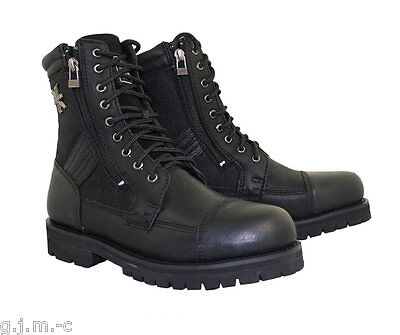 Xelement Mens 1506 Black Impact Top Grain Heavy Leather Motorcycle Boots Lug