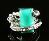 Turquoise green Gemstone 18K GP Ring Size 8 --NEW!!